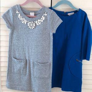 2-Crewcuts, sz 5 dresses, blue & gray